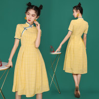 cheongsam Summer 2021 S,M,L,XL yellow Short sleeve Short cheongsam Retro No slits daily Oblique lapel lattice 18-25 years old Piping Other / other cotton 31% (inclusive) - 50% (inclusive)