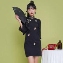 cheongsam Summer 2021 S,M,L,XL Little rabbit Short sleeve Short cheongsam Low slit Animal design 18-25 years old Embroidery