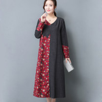 Dress Fall 2017 The fruit is green and royal blue L XL XXL longuette singleton  Long sleeves commute Crew neck Loose waist Dot Socket A-line skirt routine Others 40-49 years old Type A Tianmu yanxuan ethnic style Asymmetric printing on embroidered pocket TMYX17Q2017637 More than 95% other cotton