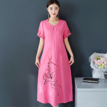 Dress Summer of 2018 Green Rose L XL XXL longuette singleton  Short sleeve commute Crew neck Loose waist Solid color Socket A-line skirt routine Others 40-49 years old Type H ethnic style Embroidery chain 51% (inclusive) - 70% (inclusive) other hemp