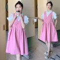 Dress Other / other Pink M,L,XL,XXL Short sleeve Medium length summer V-neck Solid color cotton 819 large amount of stock