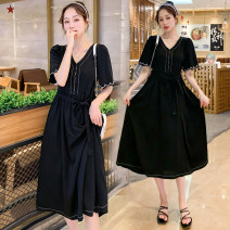 Dress Summer 2020 black M,L,XL,2XL Mid length dress singleton  Short sleeve commute V-neck middle-waisted Socket Princess Dress routine Korean version More than 95% Crepe de Chine nylon