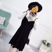 Dress Autumn of 2018 Black, chocolate M,L,XL Mid length dress Two piece set Long sleeves commute Crew neck middle-waisted Socket Princess Dress Lotus leaf sleeve Korean version More than 95% knitting wool