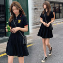 Dress Summer 2020 black M,L,XL,2XL Mid length dress singleton  Short sleeve commute Loose waist Single breasted Princess Dress Korean version More than 95% brocade nylon