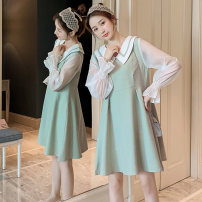 Dress Autumn of 2019 Green, pink M,L,XL,2XL Mid length dress singleton  Long sleeves commute V-neck middle-waisted zipper Princess Dress Korean version More than 95% Crepe de Chine Cellulose acetate