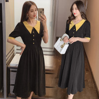 Dress Summer 2020 Picture color M,L,XL,2XL Mid length dress singleton  Short sleeve commute V-neck middle-waisted Socket Princess Dress routine Korean version More than 95% Crepe de Chine nylon