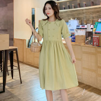 Dress Summer 2020 Avocado Green M,L,XL,2XL Mid length dress singleton  Short sleeve commute Loose waist Solid color Socket Princess Dress Korean version More than 95% Crepe de Chine Cellulose acetate