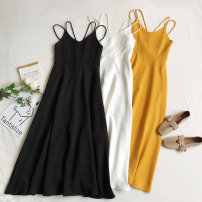Dress Spring 2020 S, M longuette singleton  Sleeveless commute V-neck High waist zipper Big swing other camisole Type A Korean version 81% (inclusive) - 90% (inclusive) other other