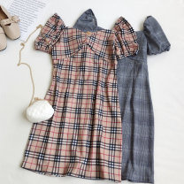 Dress Summer 2020 Average size Short skirt singleton  Short sleeve commute square neck High waist zipper A-line skirt puff sleeve Others Type A Korean version 81% (inclusive) - 90% (inclusive) other other