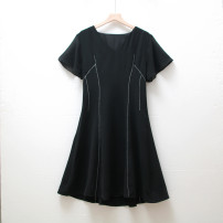 Dress Summer 2021 White, black M,L,XL,2XL Mid length dress Short sleeve commute