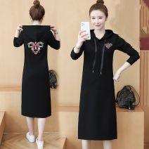 Dress Spring 2021 Black (without velvet), black (with velvet) S,M,L,XL,2XL,3XL,4XL Mid length dress singleton  Short sleeve commute Hood Loose waist Animal design Socket routine 18-24 years old Type H Other / other Korean version 81% (inclusive) - 90% (inclusive) cotton