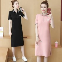 Dress Spring 2021 S,M,L,XL,2XL,3XL Mid length dress singleton  Short sleeve commute Polo collar Loose waist Socket A-line skirt routine 18-24 years old Type H Other / other Korean version Thread, button, resin fixation 81% (inclusive) - 90% (inclusive) cotton
