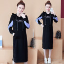 Dress Spring 2021 M,L,XL,2XL,3XL,4XL Mid length dress singleton  Long sleeves commute Hood Loose waist letter A-line skirt routine 18-24 years old Type H Other / other Korean version 71% (inclusive) - 80% (inclusive) cotton