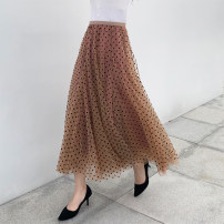 skirt Winter of 2019 S,M,L,XL Khaki, black longuette commute High waist Type A 25-29 years old Other / other Flocking, mesh, stitching