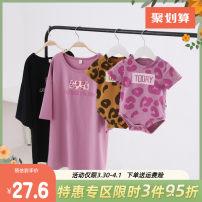 Parent child fashion A family of three Yiqi baby summer Korean version Thin money Leopard Print Finished T-shirt cotton Cotton 95% polyurethane elastic fiber (spandex) 5% Class A