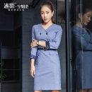 Dress Autumn of 2018 Blue and Purple Plaid Dress (belt for collection and purchase) S M L XL XXL Short skirt singleton  Long sleeves commute V-neck Elastic waist houndstooth  zipper One pace skirt routine Others 30-34 years old Type H Rippling shadow Ol style Button zipper LY188829C other