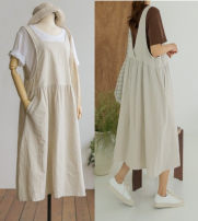 Women's large Summer 2020 Light brown, apricot Large XL, large XXL, large XXL, large XXXXL, large XXXXL Dress singleton  Sweet easy moderate Conjoined Sleeveless Solid color Medium length cotton pocket Medium length straps college