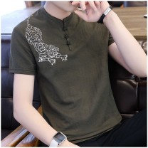 T-shirt Youth fashion Orange 9806, khaki 9806, black 9806, Navy 9806, white 9806, green 9806 Plush and thicken 165/M,170/L,175/XL,180/2XL,185/3XL,190/4XL,195/5XL Others Short sleeve V-neck Super slim daily summer MT001460 youth routine tide 2020 stripe Button decoration cotton Chinese culture