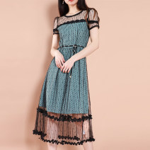 Dress Spring 2021 Black, green, black without belt, green without belt M,L,XL,2XL,3XL Other / other VE202075 polyester fiber
