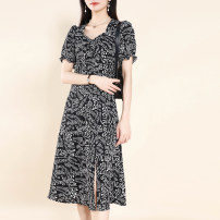 Dress Summer 2021 White dots on a black background, letters on a black background L,XL,2XL,3XL Other / other 2119XYF More than 95% polyester fiber