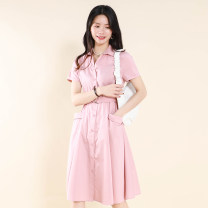 Dress Summer 2021 Pink, grayish blue, Tibetan blue, pink without belt, Tibetan blue without belt M,L,XL,2XL Other / other AWB20-1202 51% (inclusive) - 70% (inclusive) cotton