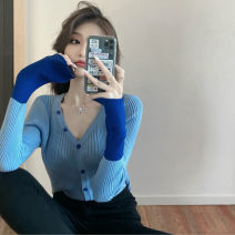 Wool knitwear Autumn 2020 Average size Green, baby blue, cherry blossom powder Long sleeves singleton  Cardigan other 30% and below commute Self cultivation V-neck routine Color matching Korean version 18-24 years old Button