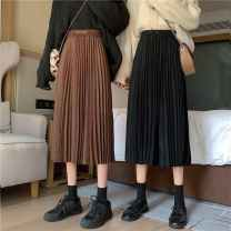 skirt Autumn 2020 Average size Brown, black Mid length dress Versatile High waist Pleated skirt 18-24 years old qSpfT 31% (inclusive) - 50% (inclusive) Ezrin other