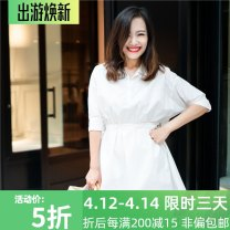 Dress Summer of 2019 S,M,L Short skirt singleton  elbow sleeve Half open collar High waist Solid color Socket A-line skirt routine Others Type A More than 95% cotton