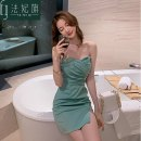 Dress Summer 2020 Black, white, aqua green, pink, jujube S,M,L,XL Short skirt singleton  Sleeveless commute V-neck High waist Solid color zipper One pace skirt other Breast wrapping 25-29 years old Type X Fafei flag lady