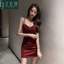 Dress Autumn of 2019 S,M,L,XL,2XL Short skirt singleton  Sleeveless commute V-neck High waist Solid color zipper One pace skirt other camisole 25-29 years old Type X lady