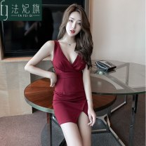 Dress Summer 2021 S, M Short skirt singleton  Sleeveless commute V-neck High waist Solid color Socket One pace skirt routine camisole 25-29 years old Type H Fafei flag backless polyester fiber