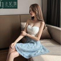 Dress Summer of 2019 White + blue, white + apricot, white + pink, all black S, M Short skirt singleton  Sleeveless Sweet V-neck High waist zipper A-line skirt Breast wrapping 25-29 years old Type A Mori