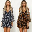 Dress Autumn of 2019 Blue, black S,M,L,XL Short skirt singleton  Long sleeves street Elastic waist Ruffle Skirt 18-24 years old other Europe and America