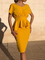 Dress Summer of 2019 yellow 2XL,XL,L,M Middle-skirt singleton  Short sleeve commute V-neck middle-waisted Solid color Socket One pace skirt other Others 25-29 years old Korean version 30% and below other other