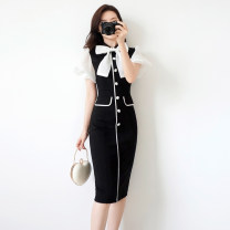 Dress Summer of 2019 black S. M, l, XL, note: clothing size is too small, coupon minus 5, collection plus purchase priority delivery Mid length dress singleton  Short sleeve commute Doll Collar High waist other zipper One pace skirt puff sleeve Others 25-29 years old Type X Other / other ZY1788 other