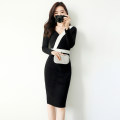 Dress Autumn of 2019 Black, white Mid length dress singleton  Long sleeves commute V-neck High waist Solid color zipper One pace skirt routine Others 25-29 years old Type X Other / other Simplicity zipper 51% (inclusive) - 70% (inclusive) other cotton