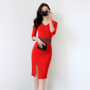 Dress Autumn of 2019 Red, black, white, sapphire S. M, l, XL, note: the size of clothes is too small Mid length dress singleton  three quarter sleeve commute V-neck High waist Solid color zipper One pace skirt routine Others 25-29 years old Type X Other / other Simplicity Diamond, zipper other cotton