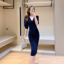 Dress Autumn 2020 Black, navy blue S. M, l, XL, note: this size is too small, please consult customer service for the recommended size Mid length dress singleton  Long sleeves commute V-neck High waist Solid color zipper One pace skirt puff sleeve Others Type X Other / other Simplicity other other