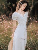 Dress Summer 2020 White, black S,M,L longuette singleton  Short sleeve commute One word collar High waist Solid color Socket A-line skirt puff sleeve Type A Retro