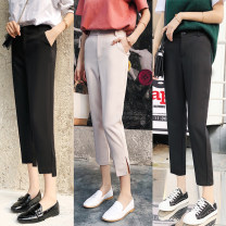 Casual pants Black regular eight, apricot regular eight, black regular nine, apricot regular nine, black side split eight, apricot side split eight, black side split nine, apricot side split nine, black irregular nine, apricot irregular nine XS,S,M,L,XL,2XL Autumn of 2018 Ninth pants loose  commute
