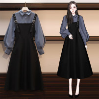 Dress Autumn 2020 White shirt + black strap skirt, blue shirt + black strap skirt, blue shirt, white shirt, black strap skirt M,L,XL,2XL,3XL,4XL longuette Two piece set Long sleeves commute Doll Collar middle-waisted Solid color other A-line skirt puff sleeve straps 25-29 years old Type A Zhenshu
