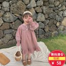 Dress Purple grey, leather powder female Other / other 80cm,90cm,100cm,110cm,120cm,130cm Cotton 95% other 5% spring and autumn Korean version Long sleeves Solid color cotton A-line skirt Class A 12 months, 9 months, 18 months, 2 years old, 3 years old, 4 years old, 5 years old, 6 years old