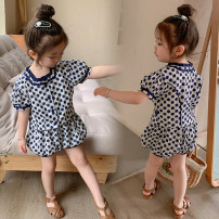 suit Other / other blue 80cm,90cm,100cm,110cm,120cm,130cm female summer Korean version Short sleeve + pants 2 pieces routine There are models in the real shooting Socket nothing lattice cotton children birthday other Cotton 95% other 5% Chinese Mainland
