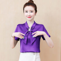 Lace / Chiffon Summer 2020 Purple, red, white, apricot, green, black [skirt] S,M,L,XL,2XL,3XL Short sleeve commute Socket singleton  easy Regular V-neck Solid color routine 25-29 years old Bowknot, lace, tie flower, bright line decoration, 3D Korean version 81% (inclusive) - 90% (inclusive)