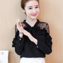 Lace / Chiffon Spring of 2019 Black, white, black [skirt] S,M,L,XL,2XL Long sleeves commute Socket singleton  easy Regular V-neck Dot bishop sleeve 25-29 years old Bow, ruffle, lace Korean version 81% (inclusive) - 90% (inclusive) polyester fiber