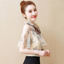 Lace / Chiffon Summer 2020 Apricot, red, blue, black [skirt] S,M,L,XL,2XL Short sleeve commute Socket singleton  easy Regular stand collar Decor Lotus leaf sleeve 25-29 years old Bowknot, ruffle, lace, stitching, button, mesh, lace Korean version 81% (inclusive) - 90% (inclusive) polyester fiber