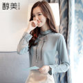 shirt Blue, white, pink, black [skirt] S,M,L,XL,2XL Autumn of 2019 other 81% (inclusive) - 90% (inclusive) Long sleeves commute Regular stand collar Single row multi button routine Solid color 25-29 years old Self cultivation Korean version Bow, thread, stitching, pleating, pleating, button