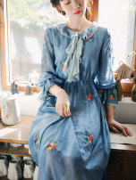 Dress Spring 2020 Ice blue S,M,L commute High waist More and more Retro Chiffon