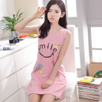 Nightdress Other / other motion Sleeveless Sports Home Short skirt summer Cartoon animation youth Crew neck cotton printing More than 95% pure cotton 200g and below