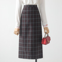 skirt Winter 2020 S,M,L,XL Purple, coffee Mid length dress commute High waist A-line skirt lattice Type A 18-24 years old 31% (inclusive) - 50% (inclusive) Wool Qin Yao zipper Korean version
